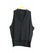 mizuiro-ind(ミズイロインド)の古着「深Vワイドブラウス / オーバーサイズベスト」|ブラック