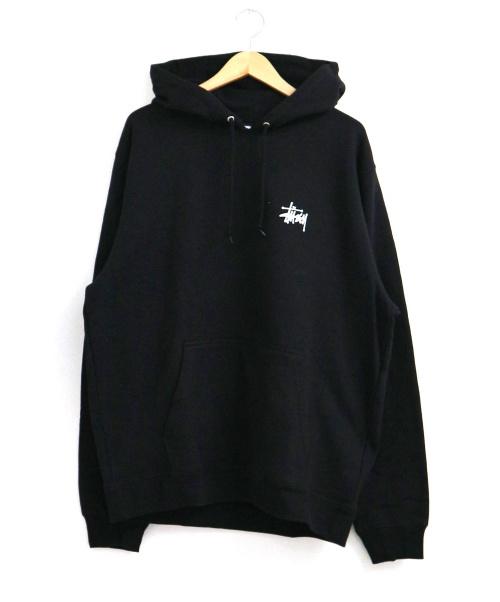 stussy(ステューシー)stussy (ステューシー) ストックロゴプルオーバーパーカー ブラック サイズ:L 未使用品  19AWの古着・服飾アイテム