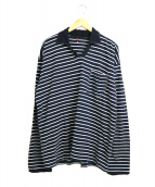 45R(フォーティファイブアール)の古着「インディゴ染めスキッパーボーダーポロシャツ」|ネイビー