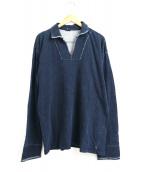 45R(フォーティファイブアール)の古着「インディゴ染めスキッパースウェットポロシャツ」|インディゴ