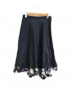 tricot COMME des GARCONS(トリココムデギャルソン)の古着「シルク花柄レイヤードスカート」 ブラック