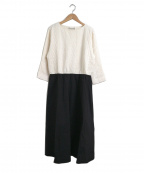 porter des boutons(ポルテデブトン)の古着「切替トレリスジャガードワンピース」|ブラック×ホワイト