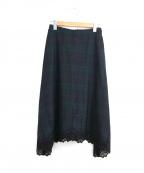 porter des boutons(ポルテデブトン)の古着「タータンチェックレース装飾スカート」|ネイビー×グリーン