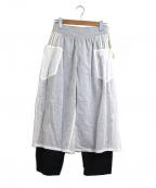 porter des boutons(ポルテデブトン)の古着「レースレイヤードテーパードパンツ」|ホワイト×ブラック