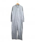 Toujours(トゥジュー)の古着「シャツ地コットンオールインワン / ジャンプスーツ」|ブルー×グレー