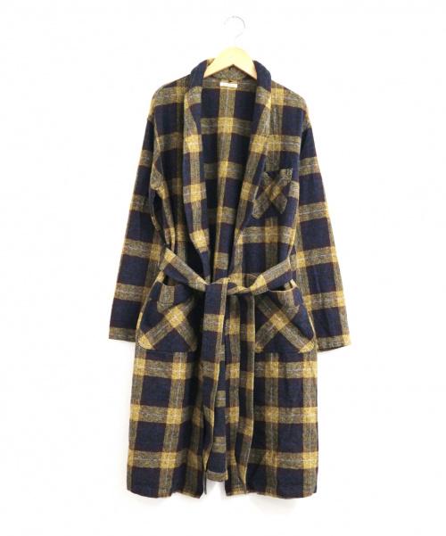 Johnbull(ジョンブル)Johnbull (ジョンブル) コットンツイードチェックガウン イエロー×ブラウン サイズ:FREE 未使用品 V2033の古着・服飾アイテム