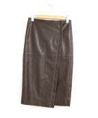 ()の古着「フェイクレザーラップスカート」|ブラウン