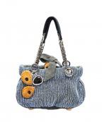 JAMIN PUECH(ジャマンピュエッシュ)の古着「ビーズ装飾ハンドバッグ」 ブルー