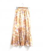 JOHNBULL(ジョンブル)の古着「タイダイプリントロングスカート」|オレンジ