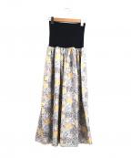 porter des boutons(ポルテデブトン)の古着「リバティプリント2wayギャザースカート」|ベージュ