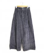 porter des boutons(ポルテデブトン)の古着「太畝コーデュロイタックワイドパンツ」|グレー
