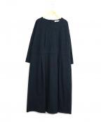 porter des boutons(ポルテデブトン)の古着「フラワー刺繍ウエストマークワンピース」|ネイビー