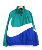 NIKE(ナイキ)の古着「ビッグスウッシュウーブンジャケット」|グリーン×ブルー