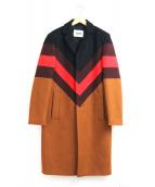 MSGM(エムエスジーエム)の古着「パターンカラーチェスターコート」|ブラック×ブラウン