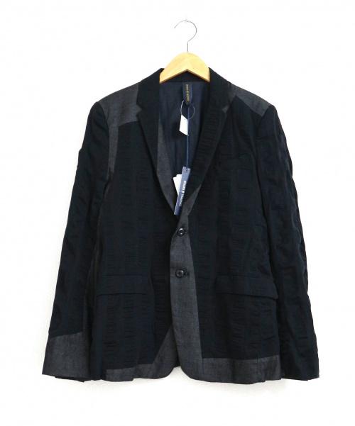 MIHARA YASUHIRO(ミハラヤスヒロ)MIHARA YASUHIRO (ミハラヤスヒロ) 異素材2Bジャケット ブラック×グレー サイズ:44 未使用品 TEXTURED BLAZERの古着・服飾アイテム