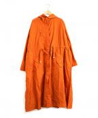 ROSE BUD(ローズバッド)の古着「フード付ロングカラーコート」 オレンジ