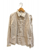 ()の古着「織り柄切替ピンタックシャツ」|ホワイト