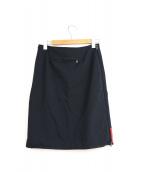 PRADA(プラダ)の古着「サイドジップナイロンジャージースカート」|ブラック