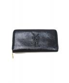 Yves Saint Laurent(イブサンローラン)の古着「エナメルラウンドジップウォレット / 長財布」|ブラック