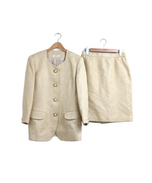 YUKI TORII(ユキ トリイ)YUKI TORII (ユキトリイ) ジャガードセットアップジャケット&スカート ベージュ サイズ:9の古着・服飾アイテム