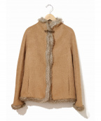 VIVIENNE TAM(ヴィヴィアンタム)の古着「[OLD]ドラゴンボタンシャギーウールケープジャケット」|ブラウン