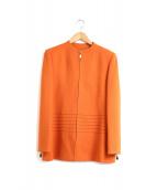 pierre cardin(ピエールカルダン)の古着「パワーショルダーノーカラージップジャケット」|オレンジ
