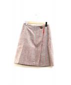 LANVIN COLLECTION(ランバンコレクション)の古着「チェックラップスカート」|グレー×レッド