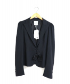 LANVIN en Bleu(ランバンオンブルー)の古着「リボンブローチ付テーラードジャケット」 ネイビー