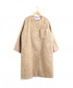 porter des boutons(ポルテデブトン)の古着「ウールツイードノーカラーコート」|ベージュ