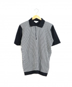 JOHN SMEDLEY(ジョンスメドレー)の古着「コットンニットポロシャツ」|ブラック×ホワイト