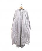 kelen(ケレン)の古着「バンドカラーワイドデザインシャツワンピース」 グレー