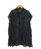 ()の古着「シースルードットブラウスワンピース」|ブラック