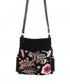 sara mallika(サラマリカ)の古着「エンブロイダリー刺繍巾着ショルダー」|ブラック