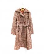 Jocomomola(ホコモモラ)の古着「ミックスツイードコート」|レッド×ベージュ