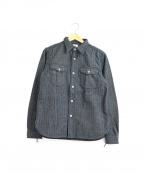 SAMURAI JEANS(サムライジーンズ)の古着「ヘリンボーンデニムワークシャツ」 グレー