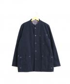 PAPAS(パパス)の古着「スタンドカラーモールスキンワークジャケット」 ネイビー