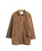 PAPAS(パパス)の古着「ヌバックレザーハーフコート」 ブラウン