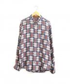 PAPAS(パパス)の古着「コットンリネンミックスチェックシャツ」 ブルー×ブラウン