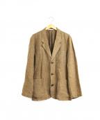 PAPAS(パパス)の古着「リネンチェックジャケット」 ブラウン