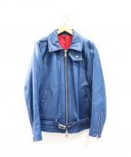 NO ID.(ノーアイディー)の古着「カウレザーセミアニリンシングルライダースジャケット」|ライトニングブルー