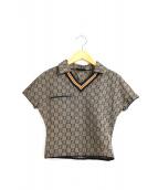 FENDI(フェンディ)の古着「[OLD]ズッカ柄ストレッチコンパクトポロシャツ」|ブラウン