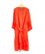 Unaca(アナカ)の古着「ノーカラーガウン風コート」|オレンジ