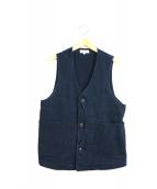 JAPAN BLUE JEANS(ジャパンブルージーンズ)の古着「インディゴ染め刺し子ハンティングベスト」|ネイビー