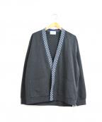 KUON(クオン)の古着「刺し子カーディガン」|チャコールグレー