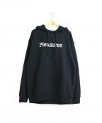 PLEASURES(プレジャーズ)の古着「ロゴ&スカルプリントスウェットパーカー」 ブラック