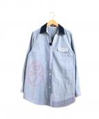 CASTELBAJAC(カステルバジャック)の古着「刺繍切替ロゴシャツ」|インディゴ