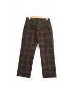 Ys(ワイズ)の古着「フェイクレイヤードウールパンツ」|ブラウン