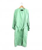 Unaca(アナカ)の古着「ノーカラーガウンコート」|黄緑