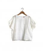 porter des boutons(ポルテデブトン)の古着「レースフリル使いワイドブラウス」|ホワイト