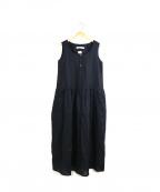 porter des boutons(ポルテデブトン)の古着「ノースリーブリネンワンピース」|ブラック